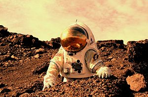 Human mission to Mars - Rendition of person in a spacesuit on Mars