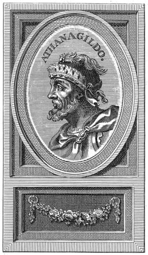 Athanagild - Illustration of Athanagild at Biblioteca Nacional de España, Madrid