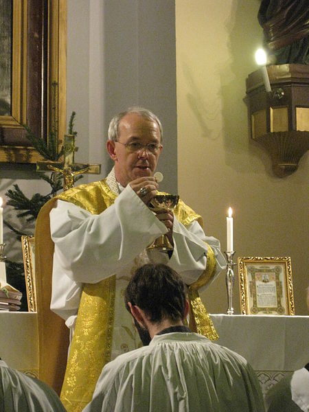 A priest celebrates Mass