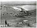 Auckland Province - Tolaga Bay Publicity Caption Looking down into Tolaga Bay from atop of Mt Titirangi (1128 ft feet), The Uawa River can be seen entering Tolaga Bay, East Coast Photographer R Coad.jpg