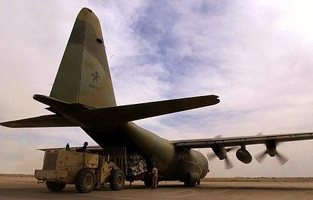 A RAAF C-130 Hercules being unloaded at Tallil Air Base, Iraq, during April 2003 Australian C-130 H being unloaded at Tallil Air Base in April 2003.jpeg