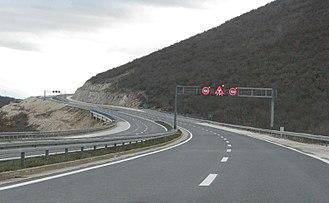 A1 (Croatia) - The A1 motorway near Trogir, variable traffic signs
