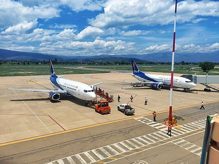 Boliviana de Aviacion (BoA) is a state-owned company and the country's largest airline. Two BoA Boeing 737-300s parked at Jorge Wilstermann International Airport. Aviones de BoA en Cochabamba.jpg