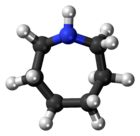 Ball-and-stick model of the azepane molecule