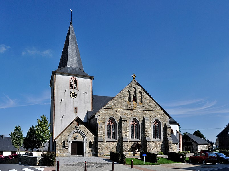 The heritage-protected Saint Eligius Church in the Belgian municipality Büllingen (Province Liège, Wallonia)