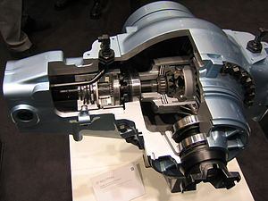 Differential (mechanical device) - ZF Differential.  The drive shaft enters from the front and the driven axles run left and right.