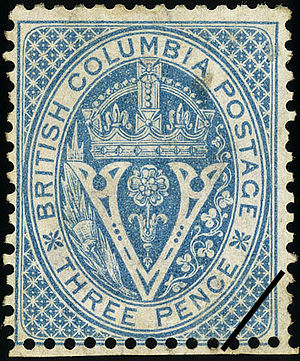 Postage stamps and postal history of Canada - An 1865 stamp of British Columbia.