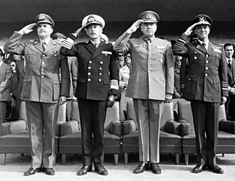 Government Junta of Chile (1973) - Members of the Government Junta from 1973 to 1978: César Mendoza, José Toribio Merino, Augusto Pinochet and Gustavo Leigh (from left to right).