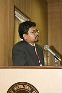 BNWIKI10-Kalyan Sarkar at Desk -Wikipedia 10th Anniversary Celebration