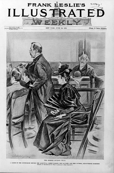 Cover illustration of weekly newspaper with scene from Lizzie Borden murder trial, 1893.