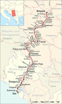 beograd bar mapa Željeznička pruga Beograd – Bar – Wikipedija beograd bar mapa