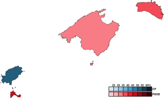 Balearic regional election, 1983 - Image: Balearic Islands District Map Parliament 1983