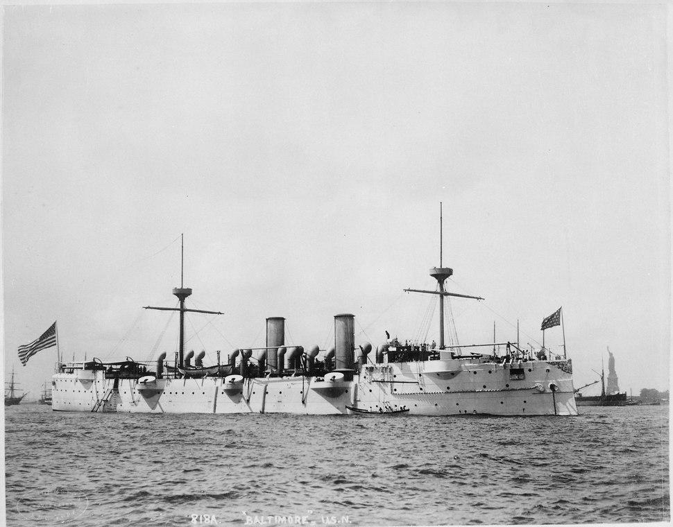 Baltimore (Cruiser 3). Starboard bow, 1891 - NARA - 512896