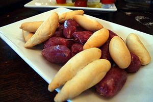 Salchichón - Picos ibéricos of Jabugo: salchichón sausage served with bread sticks