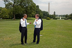 Foreign relations of the United Kingdom - United States President Barack Obama talks to British Prime Minister David Cameron on the South Lawn of the White House, 20 July 2010