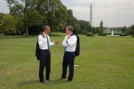 Barack Obama and David Cameron on White House South Lawn.