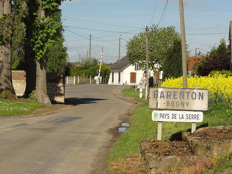 Barenton-Bugny (Aisne) city limit sign