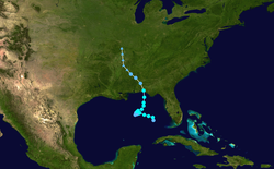 Track map of tropical storm. The Florida Panhandle is situated near the center of the map.