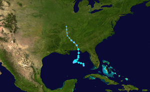 Tropical Storm Barry (2001) - Image: Barry 2001 track