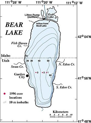 Bear Lake (Idaho–Utah) - Bathymetric chart