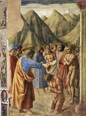Baptism - place = Brancacci Chapel, Florence