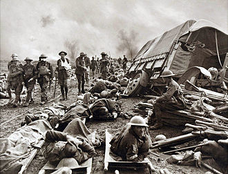 Battle of the Menin Road Ridge - Wounded men at the side of a road after the Battle of Menin Road Ridge