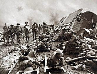 Battle of the Menin Road Ridge - Wounded men at the side of a road after the Battle of Menin Road Ridge