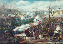 19th century lithograph picturing the Battle of Pea Ridge