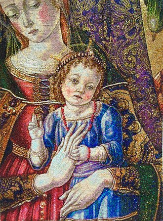 Beadwork - Beadwork adaptation of painting by Vittore Crivelli.