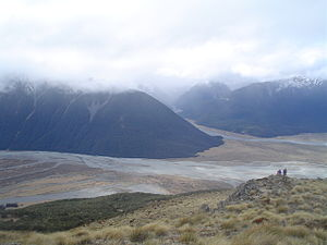 Bealey River - The Bealey River runs towards the top of the photo in the centre. The Waimakariri runs from left to right.