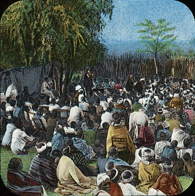 The London Missionary Society preaching to native peoples of Oceania Bechuana Congregation (relates to David Livingstone) by The London Missionary Society cropped.jpg
