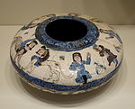 Beggar's bowl w. sphinxes & seated figures, Mina'i ware, Central Iran, Seljuk period, late 12th or early 13th century, earthenware with polychrome enamels and gold over white glaze - Cincinnati Art Museum - DSC04018.JPG