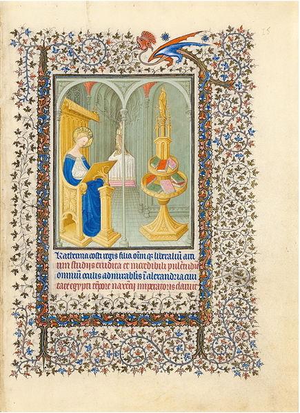 File:Belle Heures du duc de Berry - f15r - Sainte Catherine dans son studio.JPG