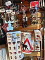 Bergen Airport, Flesland, Norway (Bergen lufthavn). Norwegian souvenirs, key rings, troll stickers, vikings, moose sign, etc. for sale. 2018-03-23 C.jpg