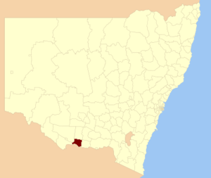 Berrigan Shire - Location of Berrigan Shire, on map of New South Wales.