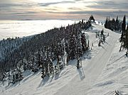 View from top of Big Mountain, near Whitefish, in winter