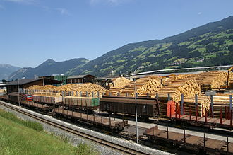 Zillertal - Sawmill at Fügen and goods train on the Zillertalbahn