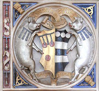 Manor of Powderham - Image: Bishop Peter Courtenay Mantelpiece Exeter Palace Courtenay Impaling Hungerford