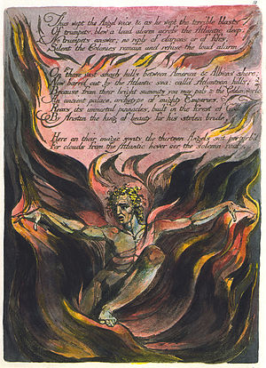 Orc (Blake) - Orc emerges from creative fires to challenge the forces of imperialism in plate 12 of America a Prophecy