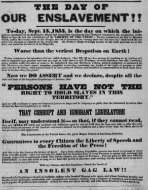 Free-Stater (Kansas) - 1855 Free-State poster in Kansas Territory, calling for action against slavery supporters and slavery-supporting laws.