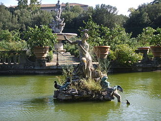 Boboli Gardens - Andromeda rises above the Isolotto centered in its pool: the luxuriant and naturalistic plant growth is a 19th-century development.