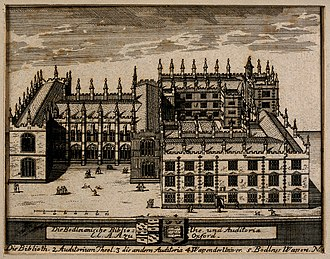 Thomas Bodley - Ancient engraving of the Bodleian Library, showing below the arms of Bodley quartering the canting arms of Hone (Argent, two bars wavy between three hone-stones azure)