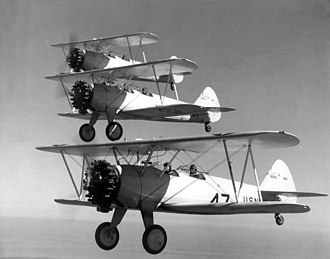 Boeing-Stearman Model 75 - United States Navy NS-1s of the NAS Pensacola Flight School, 1936.