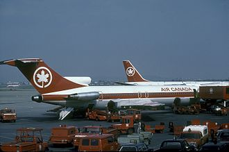 Montréal–Pierre Elliott Trudeau International Airport - Air Canada airplanes parked at the old aeroquay in 1982.