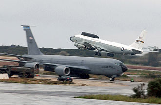"""Boeing NC-135 - USAF NKC-135 """"Big Crow"""" ECM aircraft takes off from a forward operating base"""