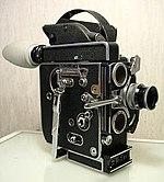 A spring-wound Bolex 16 mm camera
