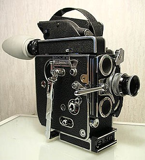 16 mm film - A 16 mm spring-wound Bolex camera.