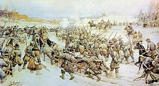 Ivan Bolotnikov - Bolotnikov's Battle with the Tsar's Army at Nizhniye Kotly Near Moscow by a Russian painter Ernst Lissner.
