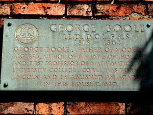 George Boole - Plaque from the house in Lincoln