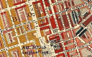 Portland Place - Langham Place in Charles Booth's 1889 map was a short road which connected Portland Place to Upper Regent Street